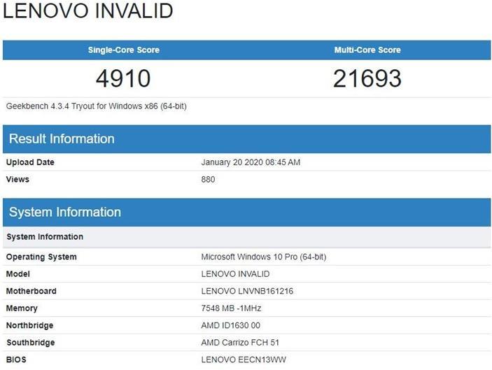 联想新款笔记本现身Geekbench 搭载R7 4700U+8GB内存