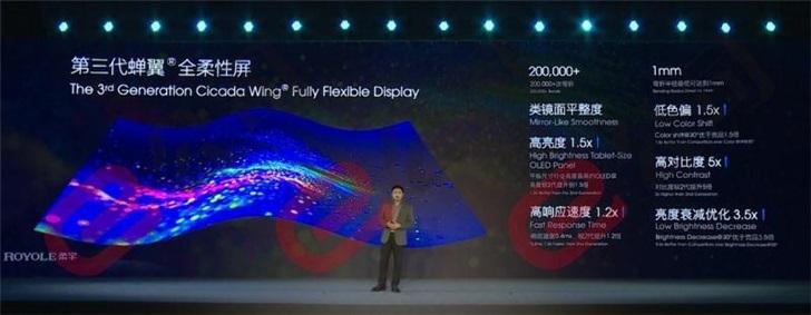 柔宇科技发布第三代蝉翼全柔性屏 亮度提升1.5倍