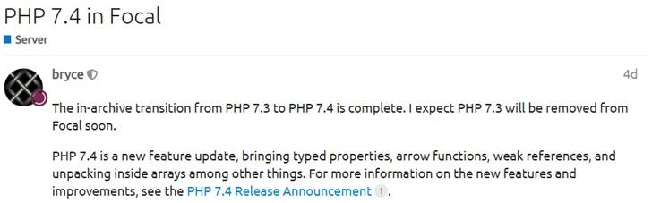 Ubuntu 20.04 LTS 成功引入PHP 7.4