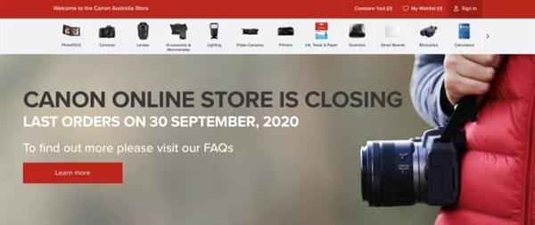 佳能澳大利亚关闭官网的在线商城 决定拉线下零售商们一把
